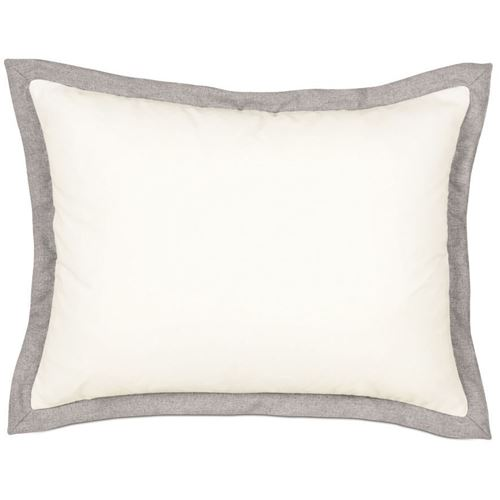 Picture of Myrtle Solid Ivory Bed Pillows (Pewter Flange)